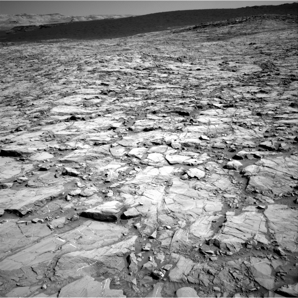 The dark band near the top of this Nov. 18 image from Curiosity's navigation camera is part of the Bagnold Dunes. Credit: NASA/JPL-Caltech