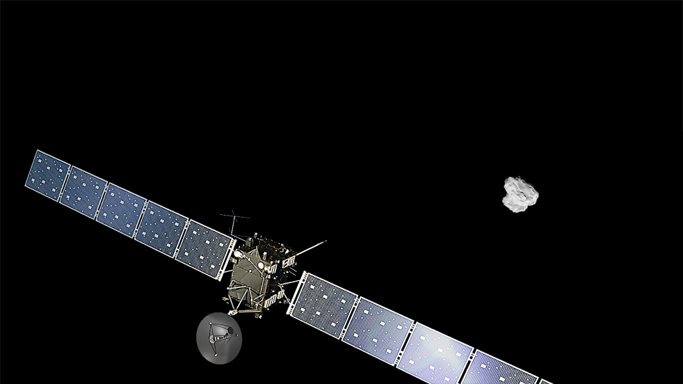 Artist's concept of the Rosetta spacecraft with a real image of comet 67P in the background. Credit: ESA/ATG medialab/Rosetta/NAVCAM