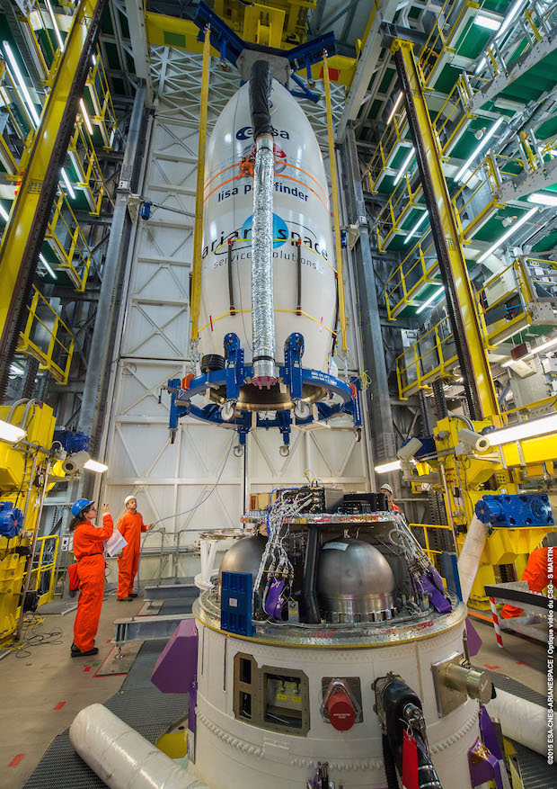 Technicians hoist the LISA Pathfinder spacecraft inside its payload fairing atop the Vega rocket's AVUM fourth stage early Thursday. Credit: ESA/CNES/Arianespace – Optique Video du CSG – P. Baudon