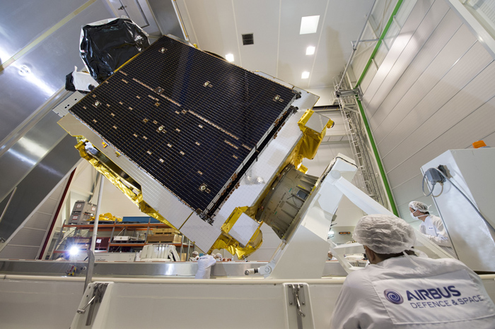 The Telstar 12 Vantage satellite, seen here in its factory in France, will cover a swath from Latin America to the Middle East with up to 52 Ku-band transponders. Credit: Airbus Defense and Space