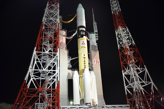 A Japanese H-2A rocket arrived at the launch pad Monday for liftoff with the Telstar 12 Vantage communications satellite. Credit: MHI