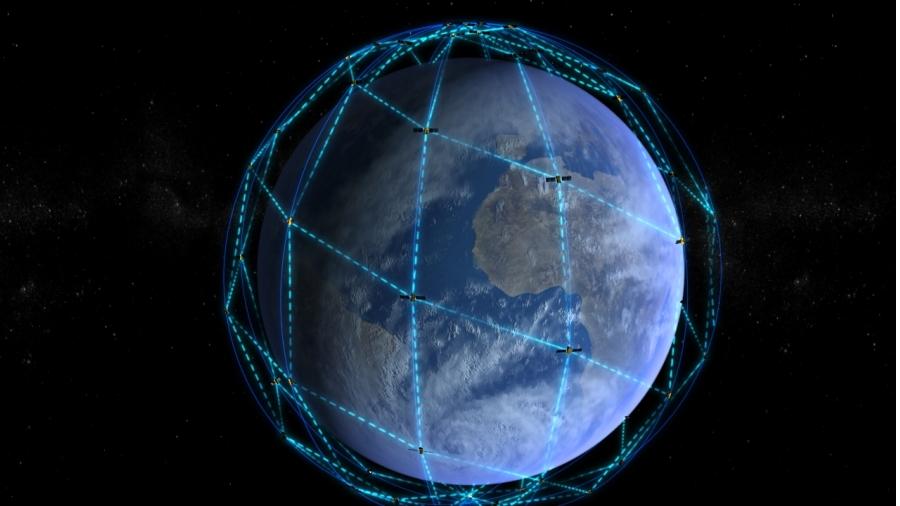 Artist's concept of the Iridium Next constellation. Credit: Thales Alenia Space