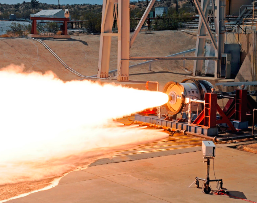 The Super Strypi's LEO-7 second stage motor undergoes a test firing in 2012. Credit: Aerojet Rocketdyne