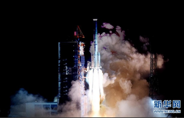 A Long March 3B rocket carrying the Chinasat 2C communications satellite lifts off from the Xichang space center in southwest China's Sichuan province Tuesday. Credit: Xinhua