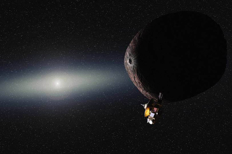 Artist's concept of the New Horizons spacecraft's encounter with a Kuiper Belt Object. Credit: NASA/SWRI/JHUAPL/Alex Parker