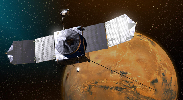 Artist's concept of the MAVEN spacecraft. Credit: NASA