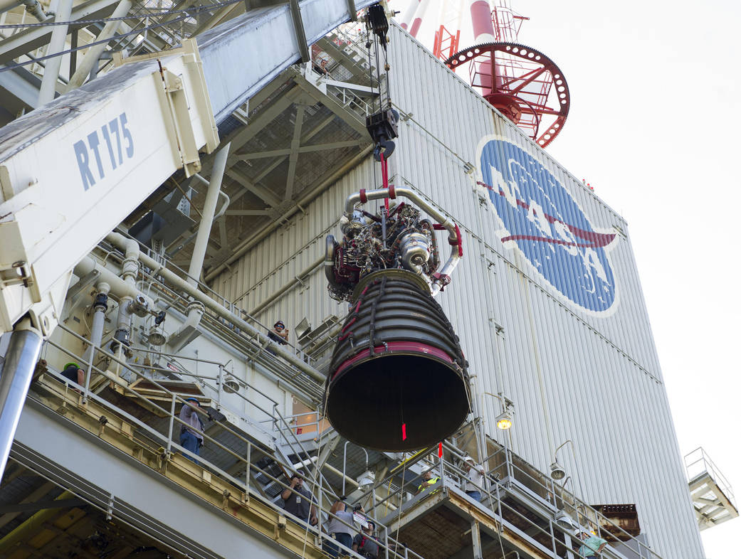 Crews lift Engine No. 2059, the first SLS flight engine to be tested, into the A-1 test stand at Stennis on Nov. 4. Credit: NASA
