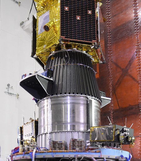 The TeLEOS 1 Earth observation satellite (top) and the PSLV's secondary payloads are pictured during launch preparations. Credit: ISRO