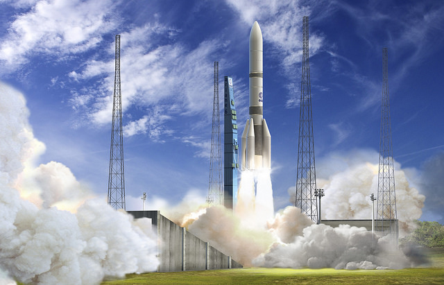 Artist's concept of the Ariane 6 rocket in its Ariane 64 configuration. Credit: ESA-David Ducros, 2015