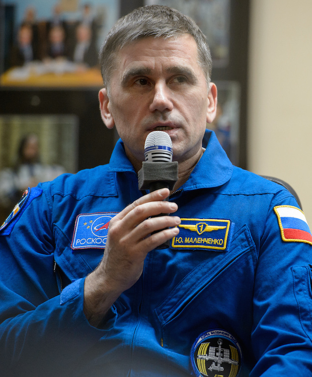 Yuri Malenchenko, who took manual control of the Soyuz TMA-19M spaceship for Tuesday's docking, is on his sixth mission in orbit. Credit: NASA/Joel Kowsky