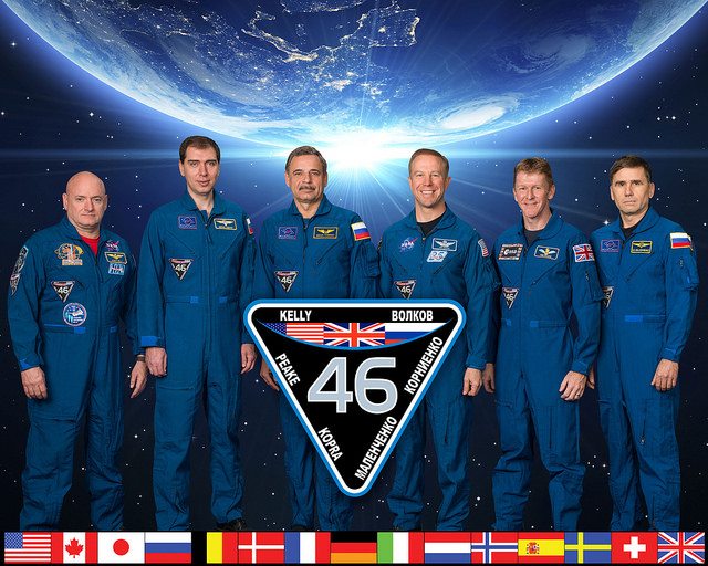 After the Soyuz docking Tuesday, the Expedition 46 crew will consist of commander Scott Kelly and flight engineers Sergey Volkov, Mikhail Kornienko, Tim Kopra, Tim Peake and Yuri Malenchenko. Credit: NASA