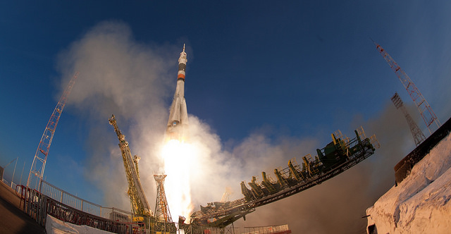The Soyuz TMA-19M spacecraft lifted off at 1103:09 GMT (6:03 a.m. EST; 5:03 p.m. Baikonur time) from the Baikonur Cosmodrome in Kazakhstan. Credit: NASA/Joel Kowsky