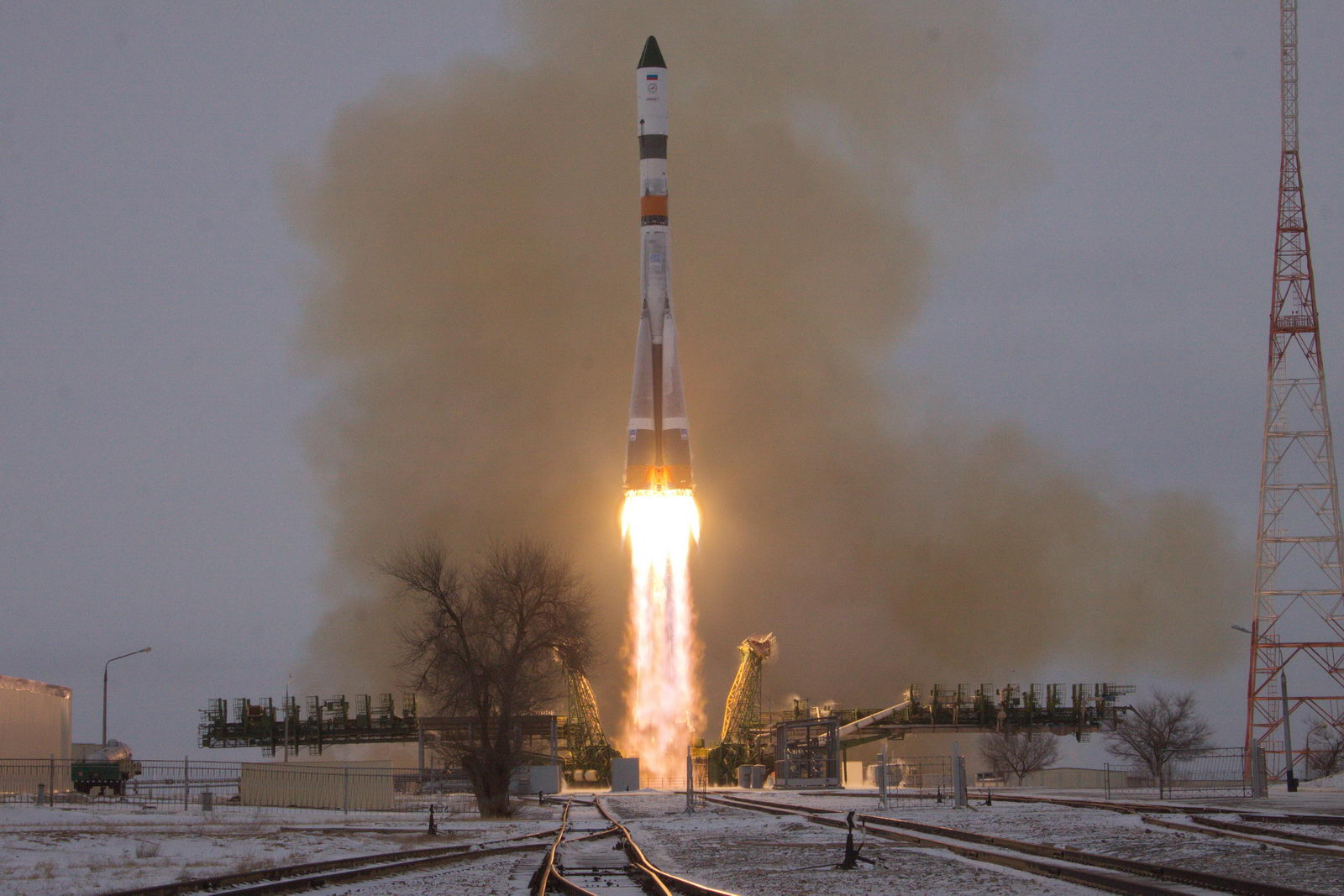 A Soyuz-2.1a rocket sent the Progress MS-01 spacecraft toward the International Space Station with a successful launch Monday. Credit: Roscosmos