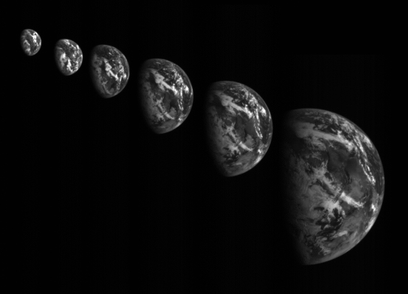This series of images from Hayabusa 2's optical navigation camera show Earth as the probe approached for the Dec. 3 flyby. Credit: JAXA