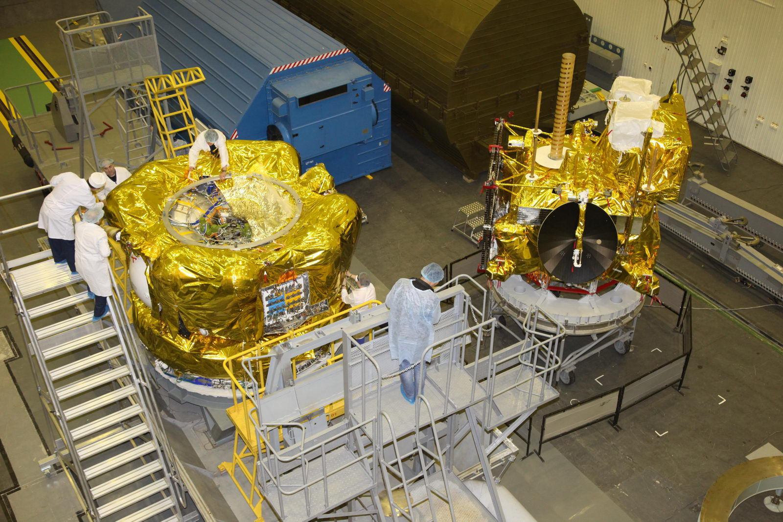 The Fregat SB upper stage is pictured with the Elektro-L 2 satellite during launch preparations. Credit: TsENKI