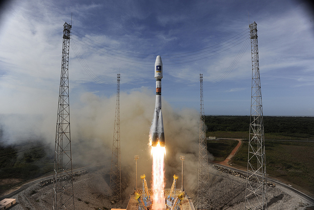 File photo of a Soyuz rocket launch from French Guiana in 2012. The Russian rocket has flown 12 times from the jungle spaceport, with a 13th mission scheduled Thursday. Credit: ESA-S. Corvaja