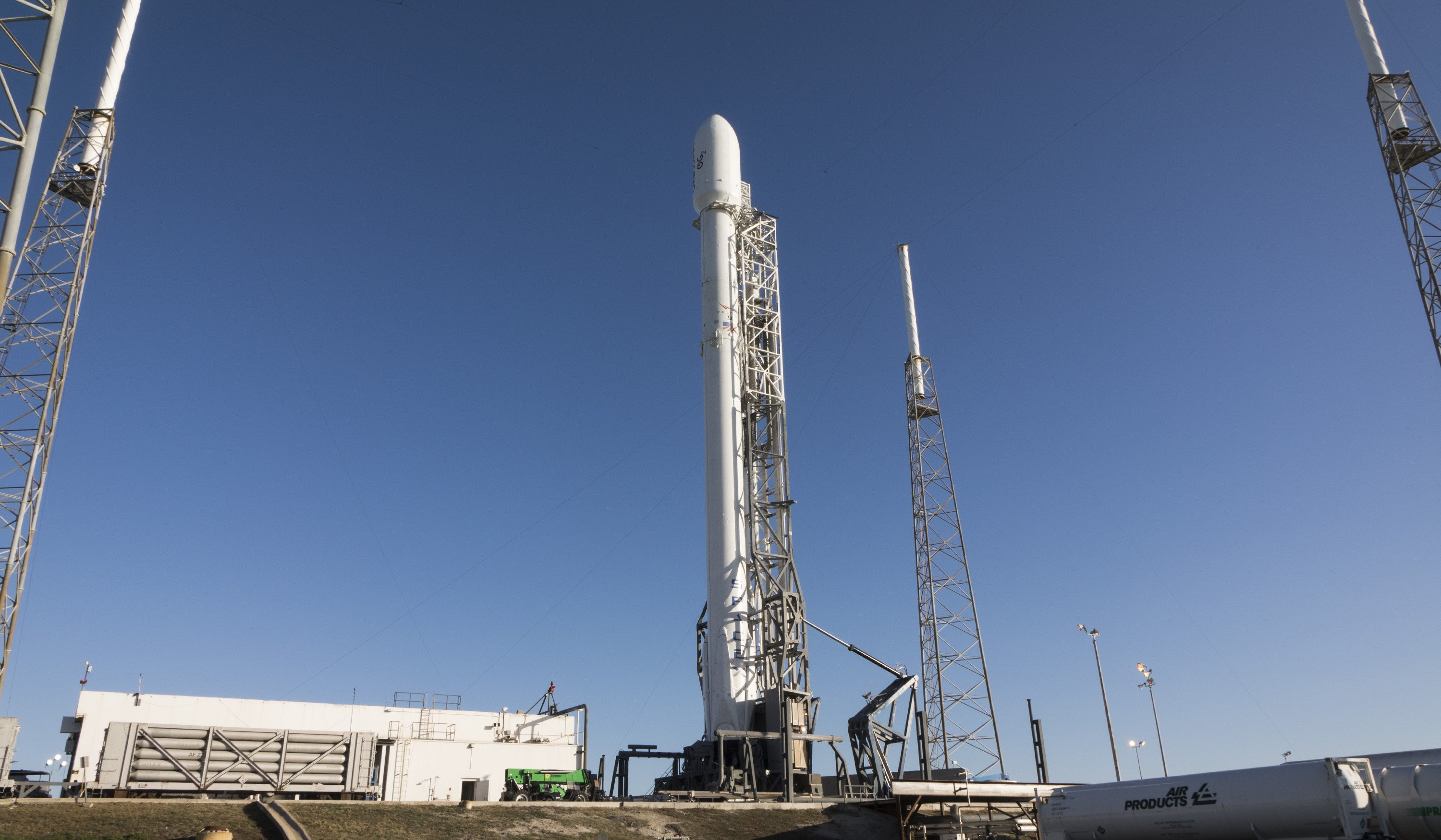 SpaceX's Falcon 9 rocket, standing 229 feet tall, on its Cape Canaveral launch pad earlier this week. Credit: SpaceX