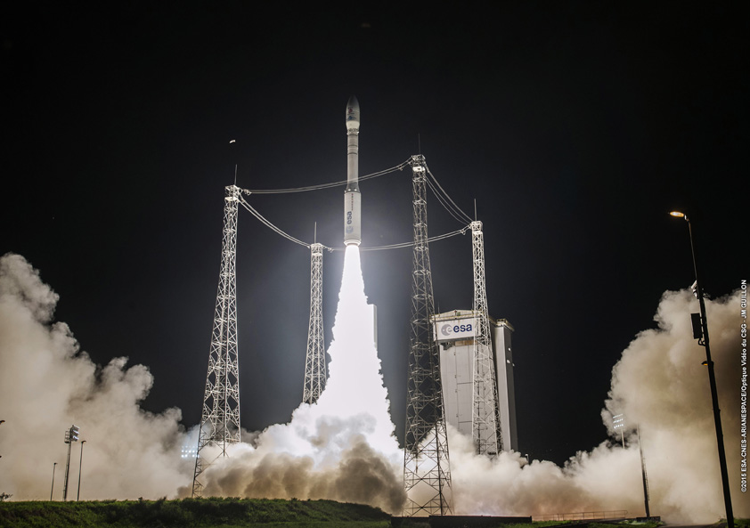 A Vega rocket launched on its sixth flight Dec. 3 with the European Space Agency's LISA Pathfinder mission. Credit: ESA/CNES/Arianespace – Photo Optique Video du CSG – JM Guillon