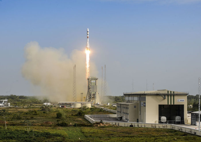 The Soyuz rocket carrying the 11th and 12th satellites for Europe's Galileo navigation program lifted off at 1151:56 GMT (6:51:56 a.m.; 8:51:56 a.m. local time) from French Guiana. ESA/CNES/Arianespace – Photo Optique Video du CSG – S. Martin