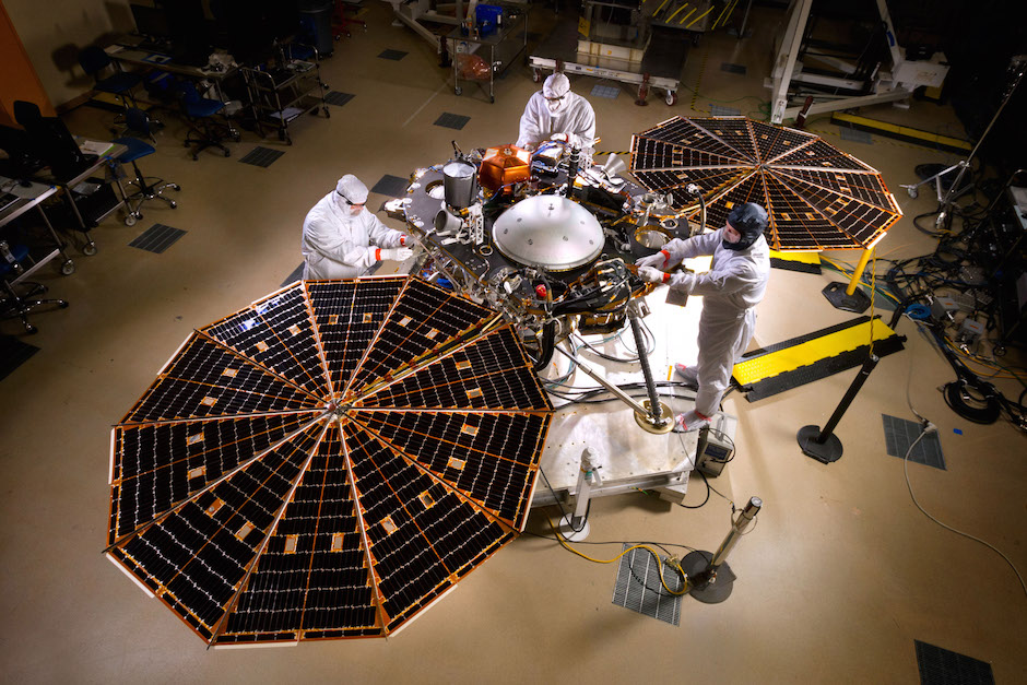 NASA's InSight lander is pictured inside Lockheed Martin's satellite factory in Colorado. Credit: Lockheed Martin