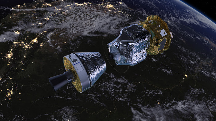 Artist's concept of the LISA Pathfinder spacecraft separating from the fourth stage of the Vega rocket. Credit: ESA