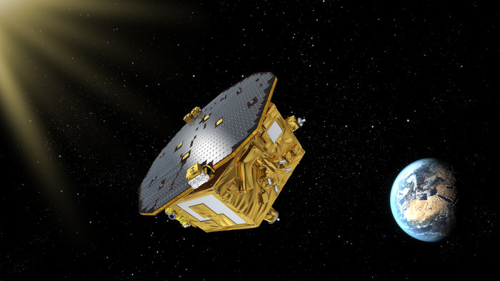 Artist's concept of the LISA Pathfinder probe. Credit: ESA