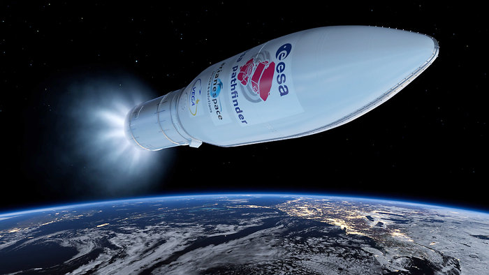 Moving at a velocity of nearly 9,000 mph, or 4 kilometers per second, the Vega rocket's Zefiro 9 motor ignites for the third stage burn.