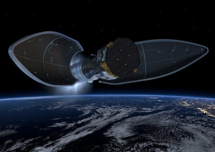The Vega's 8.5-foot-diameter (2.6-meter) payload fairing is released as the rocket ascends into space.