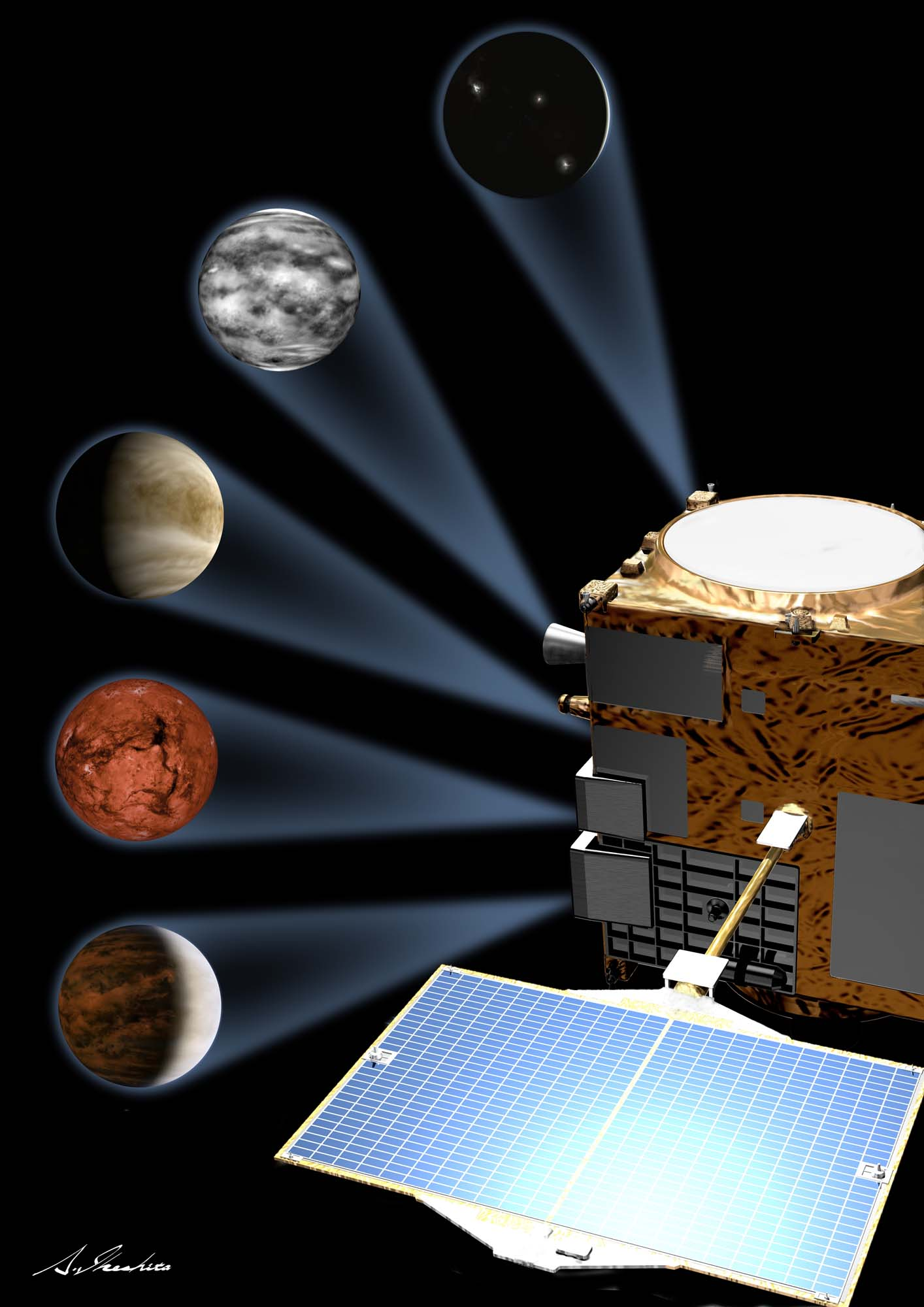 Akatsuki's five cameras will study the atmosphere of Venus. Credit: JAXA