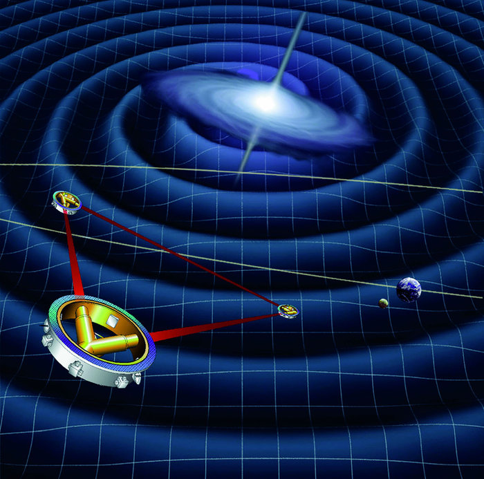 Artist's concept of the LISA mission concept for a future gravitational wave observatory. Credit: ESA