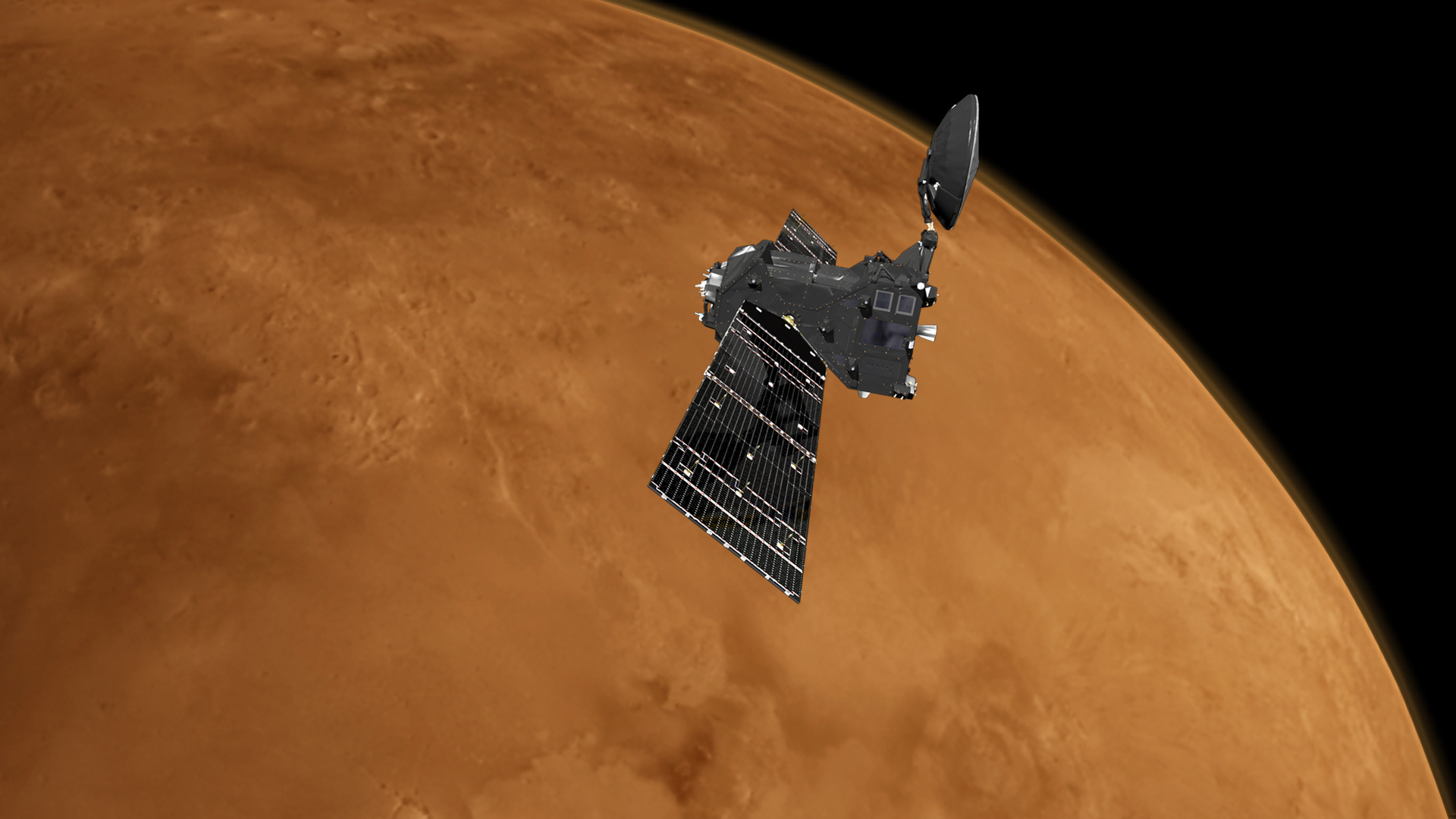 Artist's concept of Europe's ExoMars Trace Gas Orbiter at Mars. Credit: ESA/ATG medialab