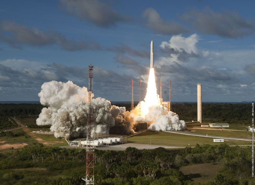 File photo of an Ariane 5 launch. Credit: ESA/CNES/Arianespace – Photo Optique Video du CSG – JM Guillon