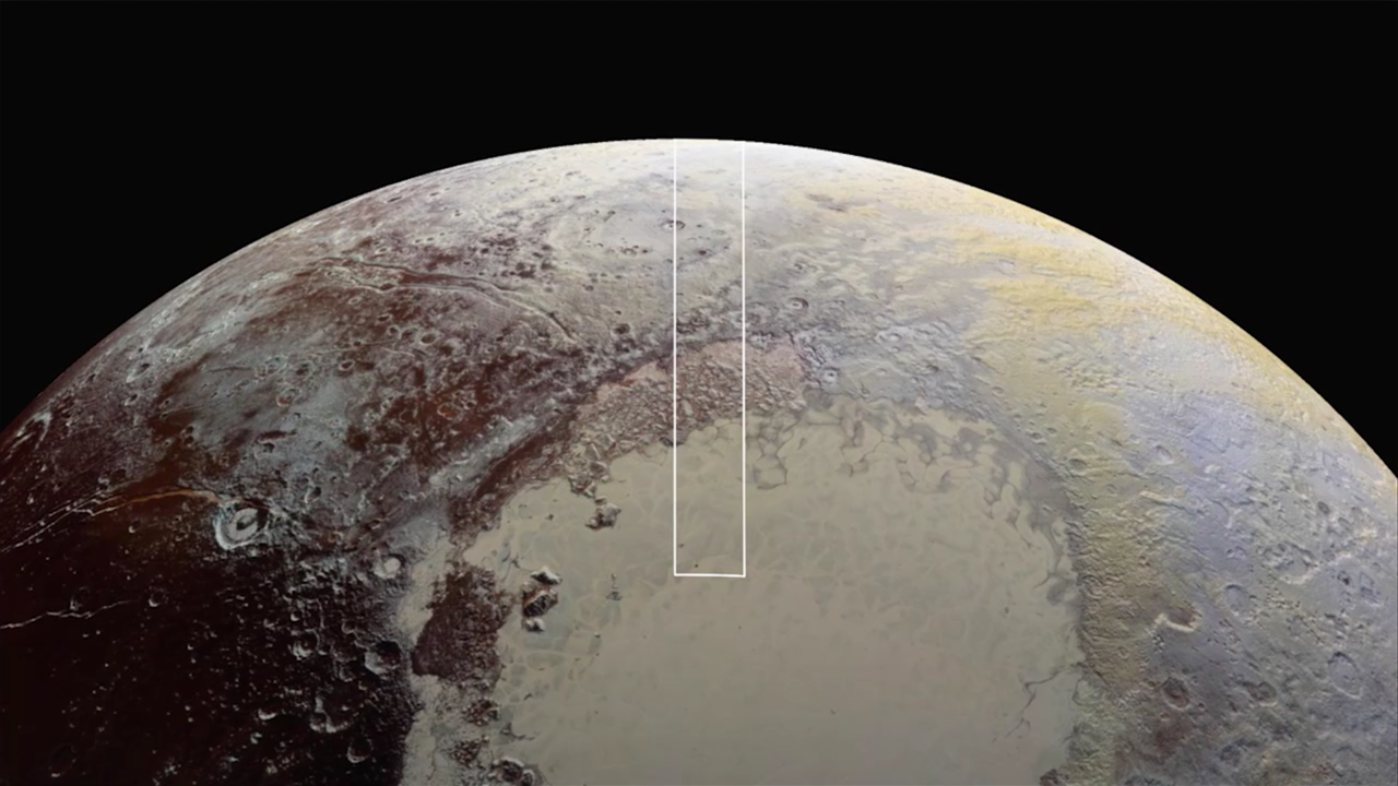 "The high-resolution strip covers a swath of Pluto from its horizon, across cratered ""badlands"" and the al-Idrisi mountain range northwest of Sputnik Planum, then onto the relatively flat ice sheet. Credit: NASA/Johns Hopkins University Applied Physics Laboratory/Southwest Research Institute"