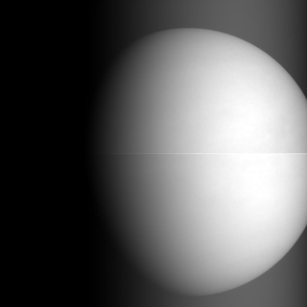 Akatsuki's one-micron infrared camera took this picture of Venus at 0450 GMT Monday (11:50 p.m. EST Sunday) from a range of 68,000 kilometers (42,000 miles). Credit: JAXA