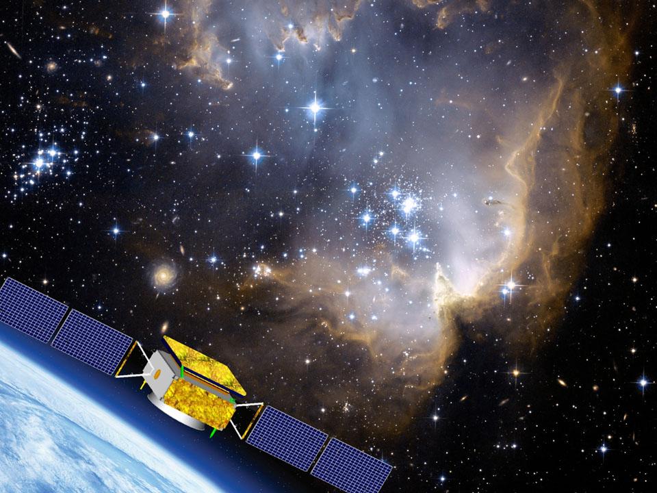 Artist's concept of the DAMPE spacecraft in orbit. Credit: University of Geneva