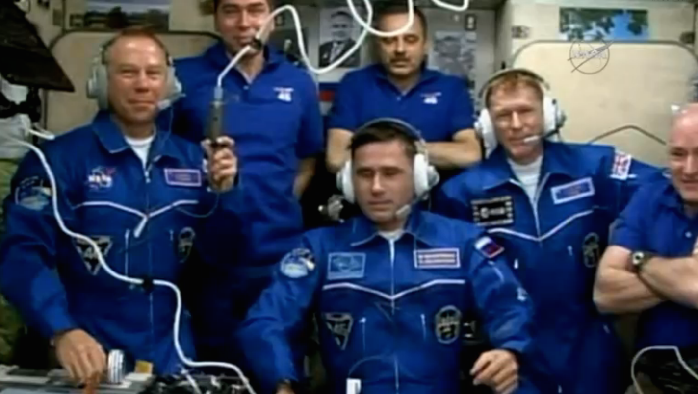 The space station has six crew members again with the arrival of Malenchenko, Kopra and Peake. Credit: NASA TV/Spaceflight Now