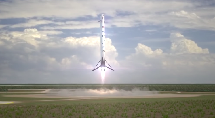 This frame from a SpaceX animation of a rocket landing shows a Falcon 9 booster descending under the power of its center engine. Credit: SpaceX