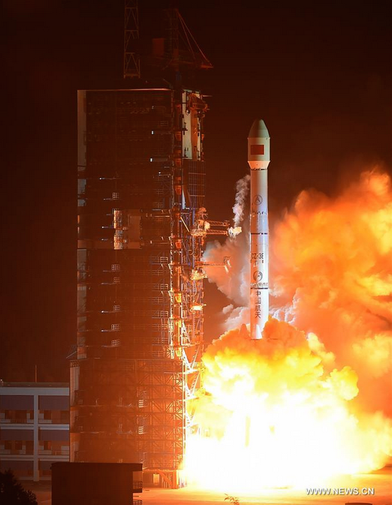 A Long March 3B rocket lifted off at 1646 GMT (11:46 a.m. EST) Wednesday with the Chinasat 1C satellite. Credit: Xinhua