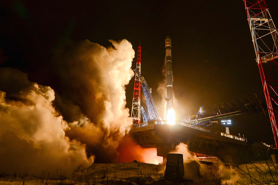 Russia's Soyuz 2-1v rocket blasted off at 1409 GMT (9:09 a.m. EST) Saturday from the Plesetsk Cosmodrome in northern Russia. Credit: Russian Ministry of Defense