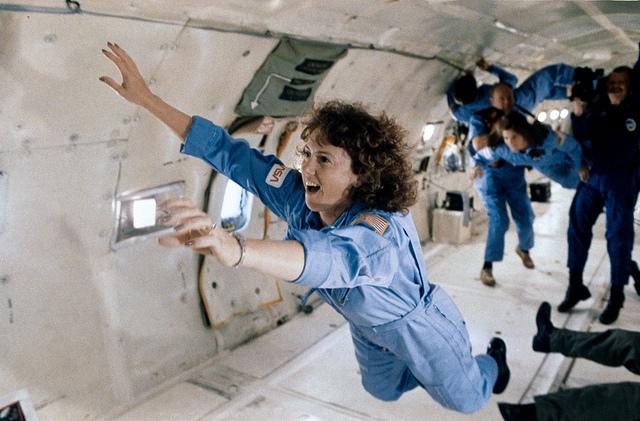 New Hampshire teacher Christa McAuliffe is seen during preflight training aboard a microgravity research jet. Credit: NASA