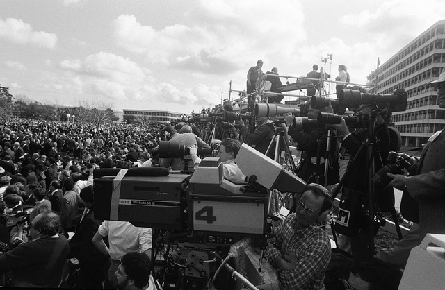 Media representatives converge on memorial service for Challenger's crew at the Johnson Space Center in Houston on Jan. 31, 1986. Credit: NASA