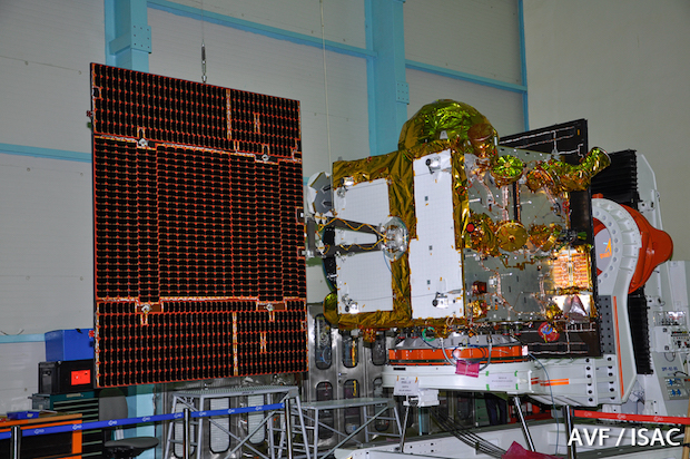 The IRNSS 1E spacecraft during ground tests. Credit: ISRO