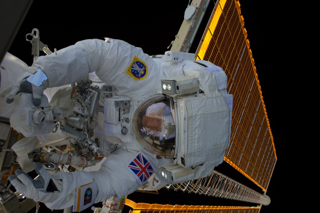 Astronaut Tim Peake is seen outside the International Space Station during Friday's spacewalk.