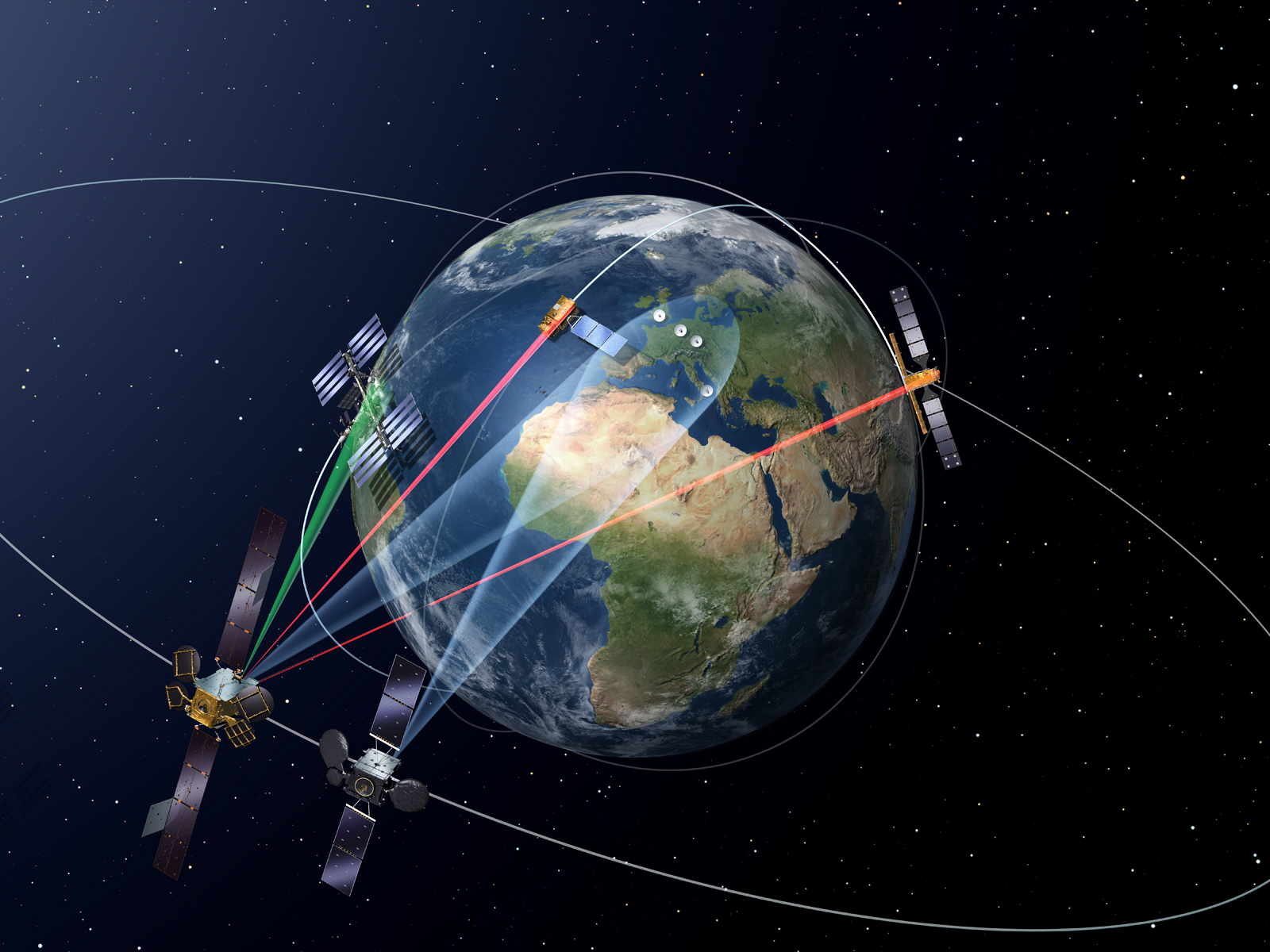 Artist's concept of the European Data Relay System. Credit: ESA
