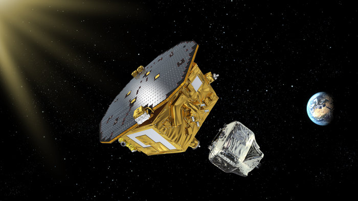 Artist's concept of the LISA Pathfinder science module separation from the spacecraft's propulsion section. Credit: ESA/C.Carreau