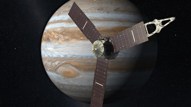 Artist's concept of the Juno spacecraft at Jupiter. Credit: NASA/JPL-Caltech