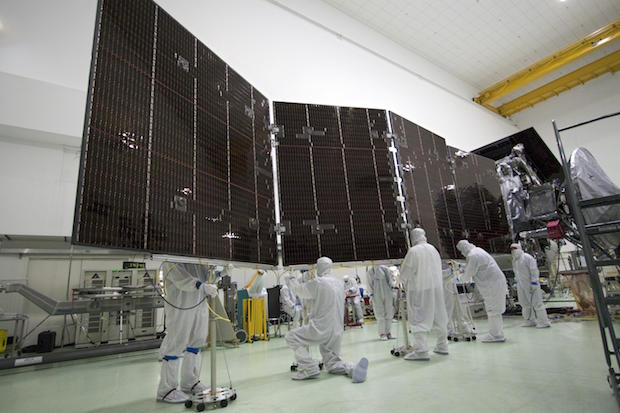 Technicians work on one of the Juno spacecraft's three solar panels before launch. Credit: NASA/JPL-Caltech/KSC