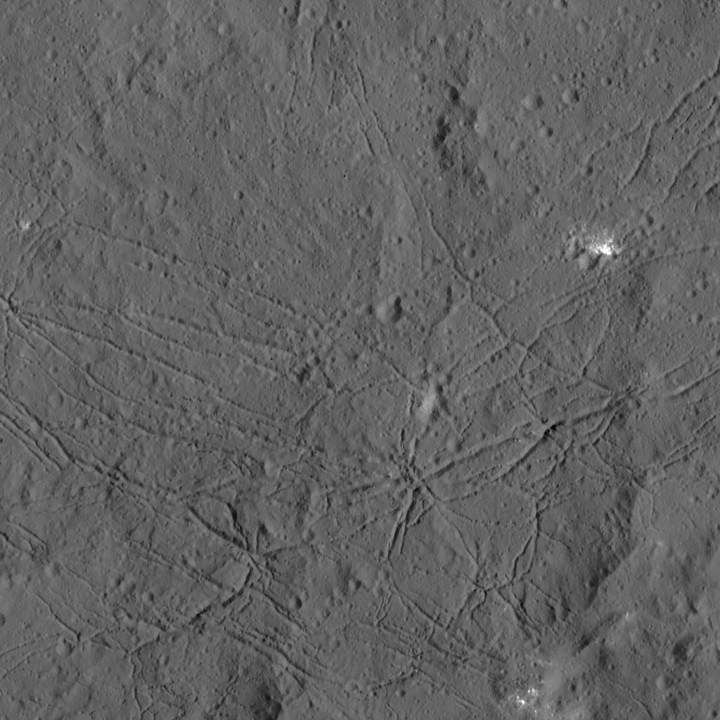 The fractured floor of Dantu Crater on Ceres is seen in this image from NASA's Dawn spacecraft. Similar fractures are seen in Tycho, one of the youngest large craters on Earth's moon. This cracking may have resulted from the cooling of impact melt, or when the crater floor was uplifted after the crater formed. Credit: NASA/JPL-Caltech/UCLA/MPS/DLR/IDA
