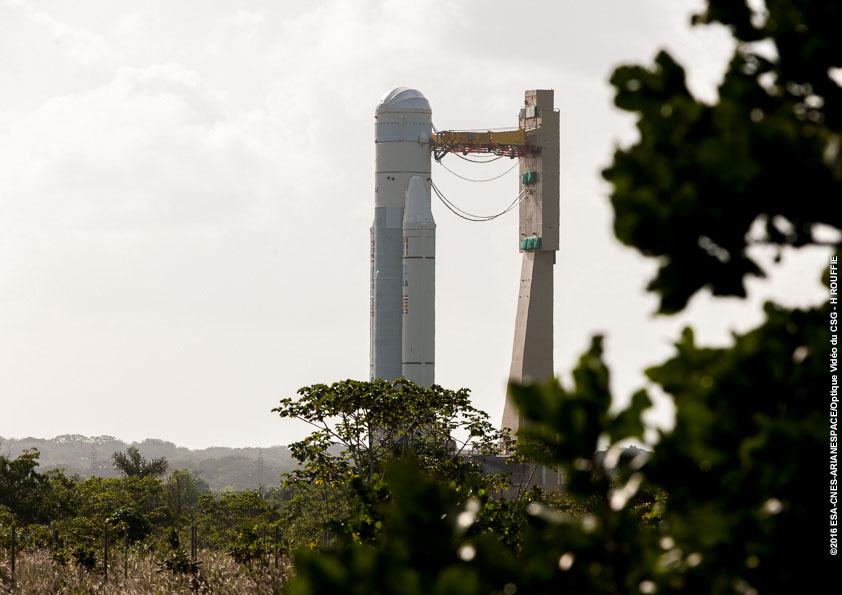 An Ariane 5 rocket rolled from its launcher integration building to the final assembly building in Kourou, French Guiana, on Jan. 8. Ground crews will attach the Intelsat 29e communications satellite to the Ariane 5 rocket for liftoff Jan. 27. Credit: ESA/CNES/Arianespace – Photo Optique Video du CSG - H. Rouffie