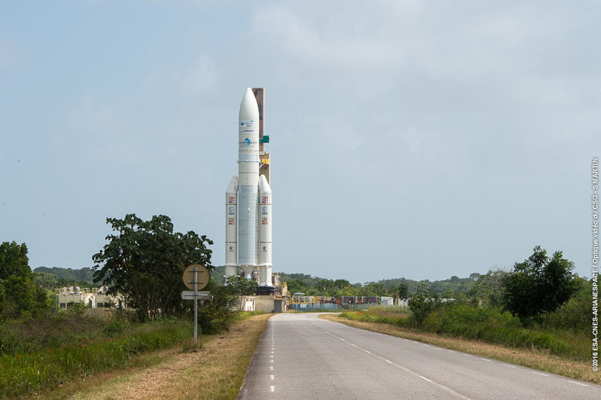 The Ariane 5 rocket rolls out to its launch pad Tuesday. Credit: ESA/CNES/Arianespace – Photo Optique Video du CSG – S. Martin